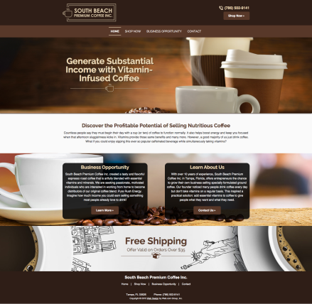 South Beach Premium Coffee Inc. Website